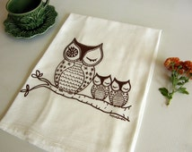 Owls Dish Towel,  Owl Family Cotton Flour Sack, Hand Printed Tea Towel,  Made in the USA, Brown, Orange, Lime Green