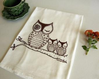 Owls Dish Towel,  Owl Family Cotton Flour Sack, Hand Printed Tea Towel, Brown, Orange, Lime Green