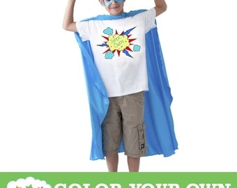 Color Your Own T-Shirt: 3 Designs & Sizes To Choose From! Party Favor, Superhero Party, Activity.