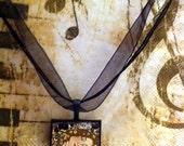 "Gustav Klimt ""Mother and Child"" Fine Art Pendant -  Glass Tile Square Bezel Setting - Black Tray - Black Organza Choker"