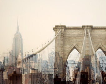 "NYC Skyline, Modern New York Print, Travel Photography, NYC Art, Brooklyn Bridge, Empire State Building, Pink ""Dreams of Cities"""