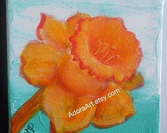 Daffodil floral painting blue orange 4 x 4 canvas wall art flower bulb art tiny original painting modern flower painting summer wall art