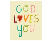 Kids Artwork, Church Bible Art, God Loves You Art Print - Typography Nursery Poster, Baptism gift, jesus, church, Top Seller - JUST BELIEVE
