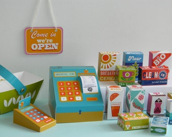 DIY Paper Toy Retro Supermarket Play Shop Kit - 6 Glossy Printed A4 Card sheets