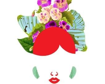 Redhead Fly Girl Portrait Art  - 0010, (Blue Butterfly and Purple Flower Hair Print, Modern Bride Illustration)