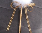 1 Feather Wishie Wand with satin ribbon stem, dandelion, puff ball, snowball, puff wand, princess,winter wedding