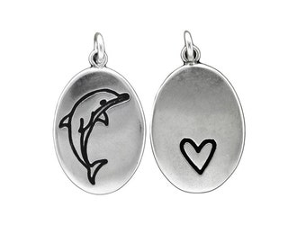 Dolphin Necklace - Sterling Silver Reversible Dolphin Pendant - Heart Pendant