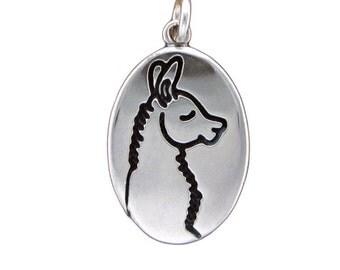Llama Necklace - Sterling Silver Llama Pendant - Alpaca Necklace