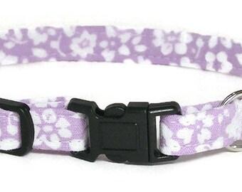 Cat Collar - White Flowers on Pale Purple - Breakaway Safety Cute Fancy Cat Kitten Collar