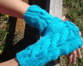 cabled fingerless texting gloves arm and wrist warmers - teal aqua turquoise blue