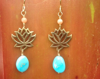 Bronze Lotus, Turquoise and Coral Earrings