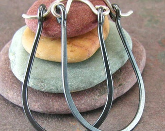 Horseshoe Earrings Sterling Silver Hoop Earrings Equestrian Jewelry Oxidized Silver Black Hoop Earrings Recycled Silver Hinged Hoops