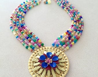 SALE Vintage Necklace, Statement Necklace, semi precious, enamel flower - Rainbow Dreams 2