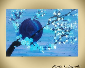 Cherry Blossom Original Canvas Painting Asian Inspired 36x24 inches Home Decor Blue Art Nature Tree Branches Moon Midnight Scene
