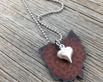 OHIO Necklace SMALL, Ohio Jewelry, Ohio Pendant, Ohio Charm, State Necklace, State Jewelry, Cincinnati Necklace, Cleveland Necklace