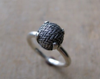 Sterling victorian button ring size 5  WOVEN engagement ring