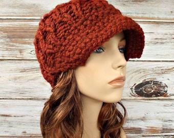 Knit Hat Womens Hat Orange Newsboy Hat - Amsterdam Beanie in Spice Rust Orange Knit Hat Orange Hat Womens Accessories - READY TO SHIP