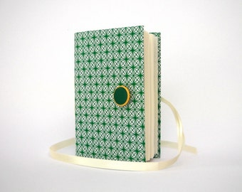 Green White journal Handmade journals Lined journal diary for writing, Opens with white ribbon and Green button, Wrap journal Fabric journal