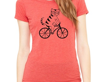 Cat riding bike bicycle FITTED t shirt scoopneck tee tshirt nerd glasses