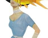 Mixed Media Original Collage Art on Paper Goldfish Art Whimsical Fish Bathroom Art Fish Art