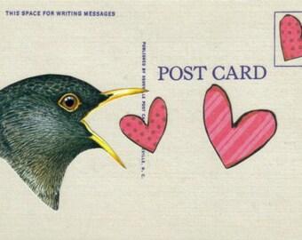Cute Love Bird Art Postcard, Original Collage Art, Prim Bird, Lovebird Art, Primitive Heart Artwork, I Love You, Love Note