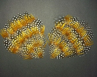2 NATURAL Pheasant & Guinea Feather Pads, Black White Brown Auburn Orange Irridescent Polka Dots, Natural Undyed Feathers