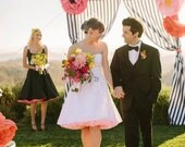 """Cotton Short Wedding Dress White Dot """"Dottie's"""" ---------------with or without Pockets------------custom sized"""