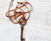 Mens Skeleton Key Necklace - Antique Key Necklace - Steampunk Key - Choose Your Cord Color