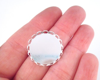 20mm Round Bezel Settings, Silver Plated with a Lace Edge, B6