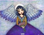 Suzi Blu Print of Mixed Media Original Harvest Angel