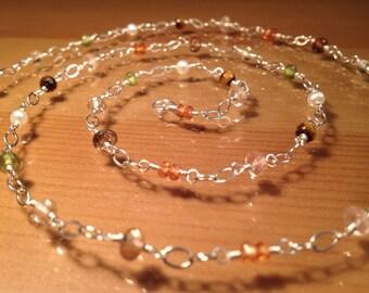 Long Earth Tones Multi Gem Necklace ... Songea Sapphire Vesuvanite Oregon Sunstone Freshwater Pearl Sterling Silver Necklace Long 22.5 inch