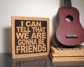 THE WHITE STRIPES band - I Can Tell That We Are Gonna Be Friends - Cork Wall Art Trivet - Dorm Room Decor Office Cubicle Decor