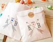 Wedding Favor Bag  - Arrow Monogram  - White Paper Favor Bag - Wax Lined Cookie Bags - 25  Bags