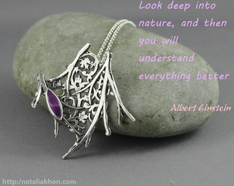 Nature inspired organic necklace with sugilite. Twig jewelry