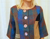 Oh Jackie Sweater Jacket SMALL-MEDIUM upcycled, reclaimed wool, vintage fabrics, handmade, rework, eco fashion, patchwork, one of a kind