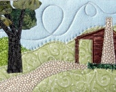 Quilted Postcard Log Cabin Handmade Fabric Postcard Quilted Greeting Card Postcard Art Fiber Art Landscape Textile Art  Mountains