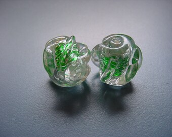 Metallic Green Rosebuds RARE Vintage Lucite Beads