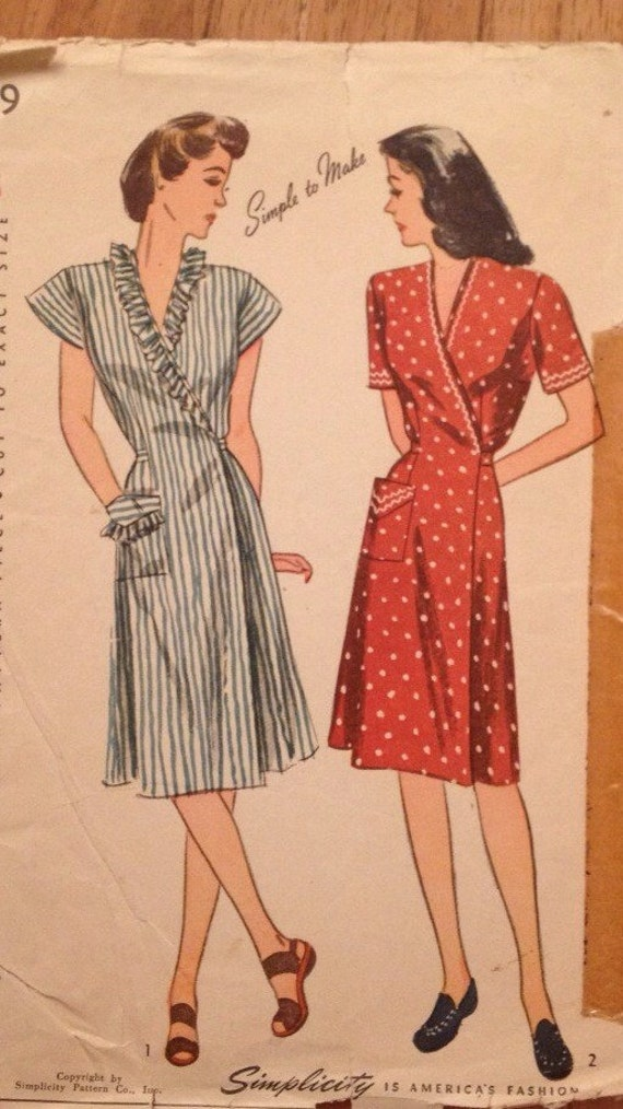 1940 S Misses Wrap Around House Dress Pattern Vintage