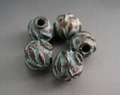 Naos Mykonos Beads Greek Beads Olive Leaf Ball Bead Antiqued Green Patina 8mm
