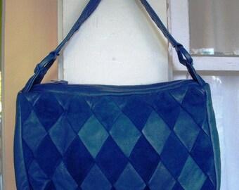 Vintage Blue Leather and Suede Purse Handbag