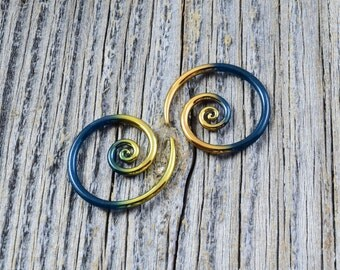 14G - 6G | 24K Gold Tipped Sparkle Teal - Mini Spirals Made to Order | Glassheart Body Jewelry for Stretched Ears - Made with Love
