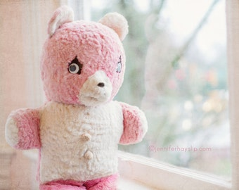 Pink Stuffed Bear whimsical dreamy photography 8x10 pastel child nursery cottage home decor wall art photography print
