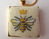 Hand Embroidered Cross Stitch Queen Bee and Crown Gold Tone Square Pendant Necklace and Chain