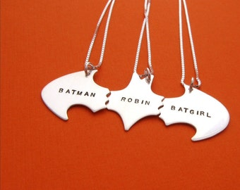 Batman Best Friend Necklaces for THREE Friends, sterling silver