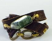 Mystical Green Kyanite Leather Wrap Bracelet