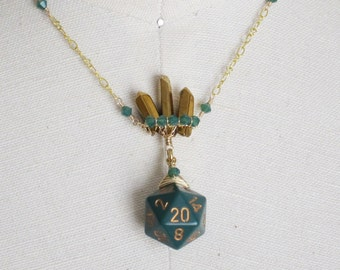 Golden Shards of Imortal Splendor, Emerald Green: Dungeons and Dragons D20 Necklace, Green Crystals, Wire Wrapped, Hand Woven, Wire Weave