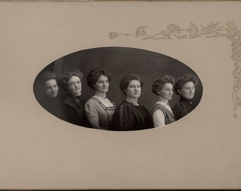 vintage photo 6 Women Edwardian Hair Fashion sisters in a Row Cabinet