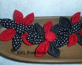 6 Red, Black and White POLKA DOT Single Layer Fabric Flower Bowl Fillers