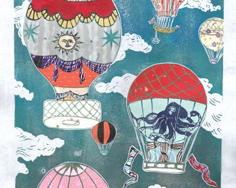 Hot Air Balloons XII - Multimedia - Lino Block Print Historic Hot Air Balloons in Cloudy Sky with Collaged Japanese Papers & Ephemera