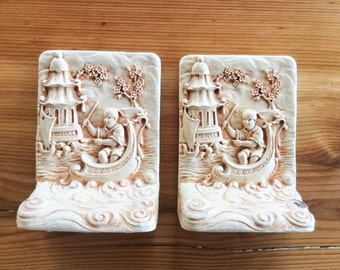 Chinoiserie Decor: Vintage Bookends. Heavy Cast Book Ends, Chinese Pagoda, Blossoms, Nautical Boat Scene. Cream White. Gifts for Book Lovers